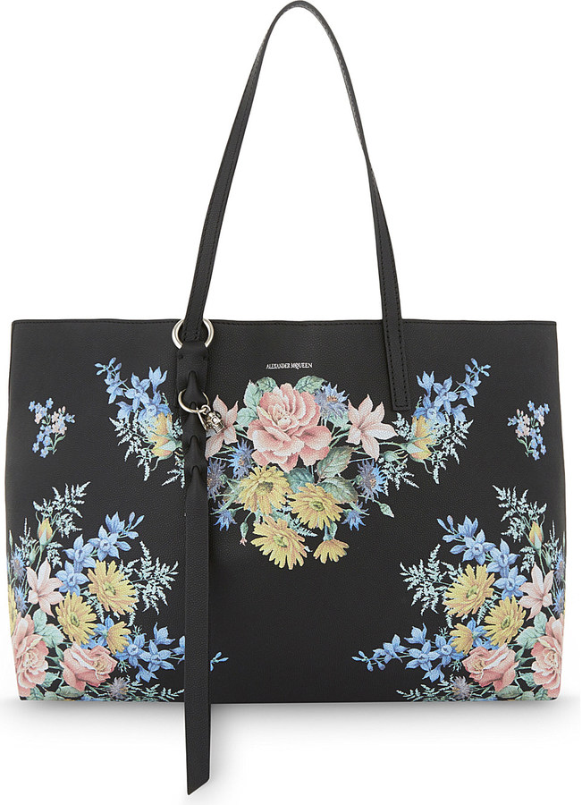 Alexander McQueenAlexander Mcqueen Floral-print leather shopper