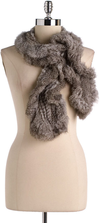 JOOLAY Ruffled Rabbit Fur Muffler