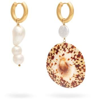 Timeless pearly Timeless Pearly - Mismatched Freshwater Pearl & Shell Drop Earrings - Womens - Pearl