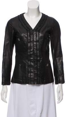 Chanel Collarless Leather Jacket