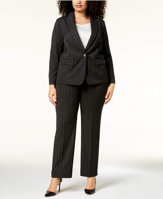 Tahari ASL Plus Size Pinstriped One-Button Pantsuit