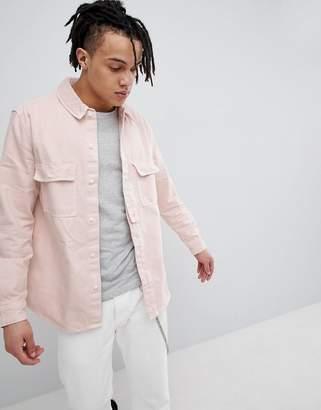 Bershka Denim Overshirt in Pink
