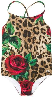 Dolce & Gabbana rose print leopard swimsuit