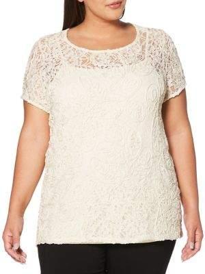 Rafaella Plus Lace Short Sleeve Shirt