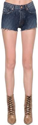 Filles a papa Embellished Slim Cotton Denim Shorts