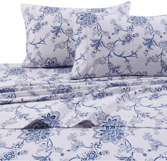 Tribeca Marwah Corporation Living Living Flannel 200-gsm Floral Printed Extra Deep Pocket Cal King Sheet Set Bedding
