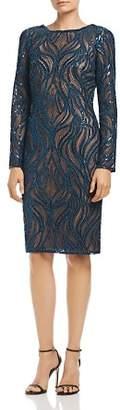 Tadashi Shoji Embroidered Wave Mesh Dress