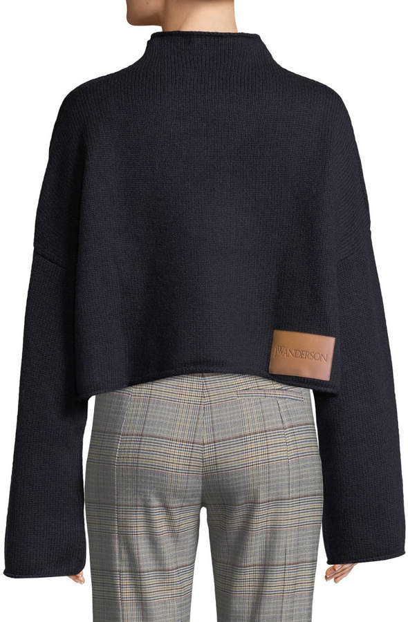 Jw Anderson Cable-Knit Detail Dropped-Shoulder Wool-Cashmere Sweater