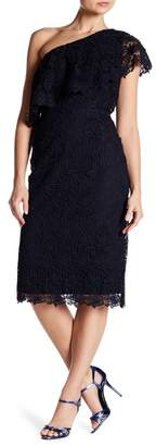 Nanette Lepore NANETTE One Shoulder Lace Sheath Dress