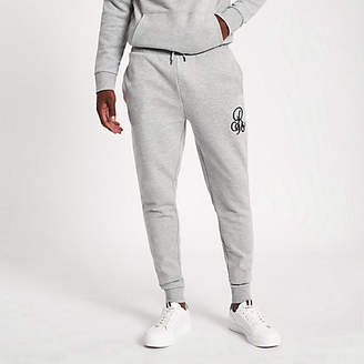 River Island Grey marl 'R96' muscle fit joggers