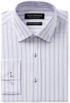 Nick Graham Men Slim-Fit Stretch Easy-Care Multi Stripe Dress Shirt