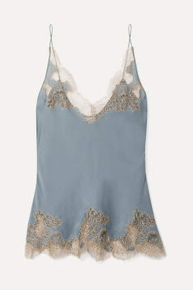 Carine Gilson Chantilly Lace-trimmed Silk-satin Camisole - Blue