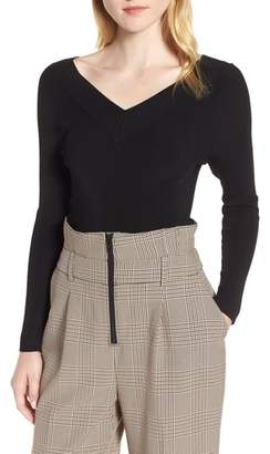 Trouve Skivvy Double-V Sweater