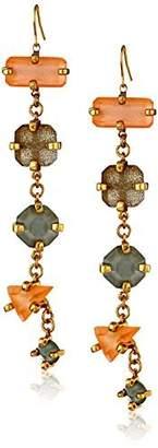 Erickson Beamon Rocks Gold-Plated Six Stone Drop Earrings by Rocks