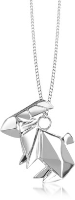 Origami Sterling Silver Rabbit Pendant Long Necklace