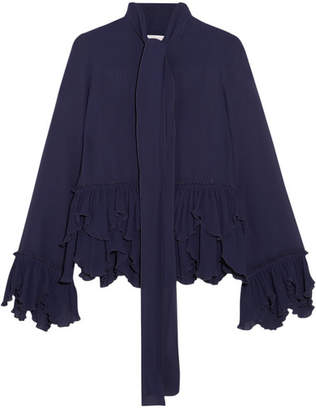 See by Chloe Ruffled Plissé-georgette Pussy-bow Blouse - Midnight blue