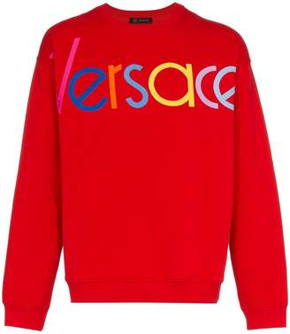 Versace red logo embroidered jumper