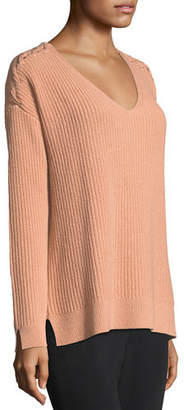 Neiman Marcus Shaker-Stitch Cashmere Pullover w/ Lace-Up Shoulders