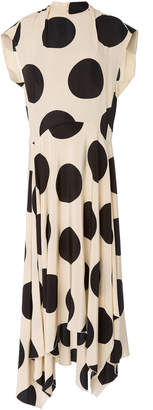 Petar Petrov Daly Asymmetric Polka-Dot Silk-Crepe Midi Dress