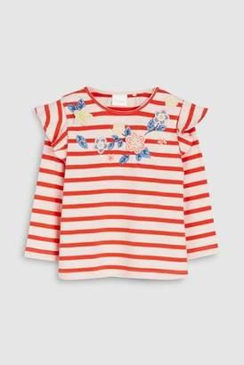 Next Girls Pale Blue Embellished Stripe T-Shirt (3mths-7yrs)