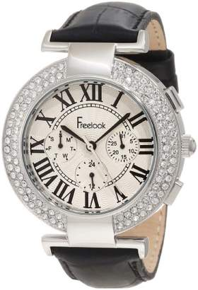 Freelook Women's HA1335-1 Black Croco Leather Off White Dial Swarovski Bezel Watch