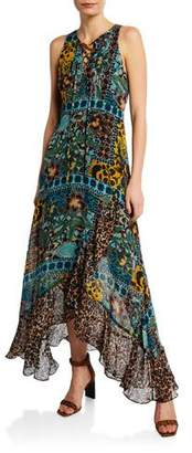Nanette Lepore Exotic Sleeveless Lace-Up Multi-Print Maxi Dress