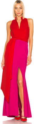 Brandon Maxwell Split Neck Gown in Fuchsia Combo | FWRD