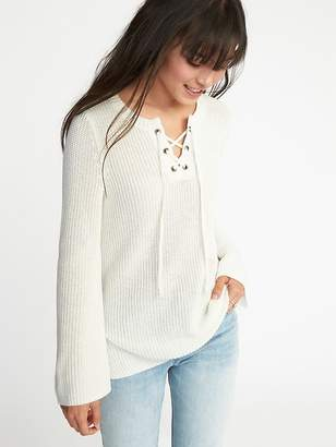 Old Navy Lace-Yoke Bell-Sleeve Sweater for Women