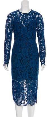 Veronica Beard Lace Long Sleeve Midi Dress