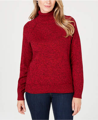 Karen Scott Cotton Marled Turtleneck Sweater, Created for Macy's