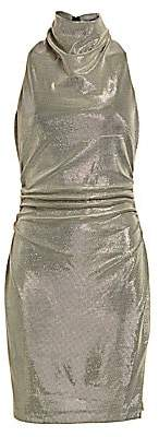 Halston Women's Draped Mockneck Metallic Mesh-Knit Dress