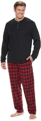 Chaps Big & Tall Henley & Plaid Fleece Lounge Pants Set