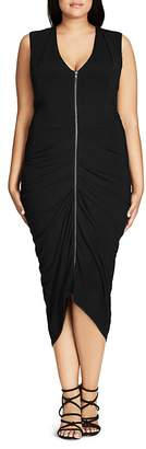 City Chic Drape Pleat Midi Dress