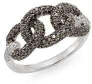 Effy Black Diamond, White Diamond & 14K White Gold Chainlink Ring