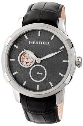 Heritor Automatic Callisto Silver & Grey Leather Watches 45mm