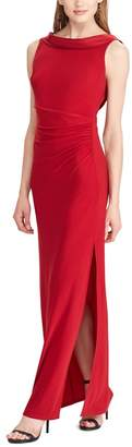 Chaps Women's Satin-Trim Jersey Evening Gown