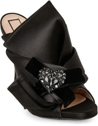No.21 No. 21 Black Satin Raso Sandals