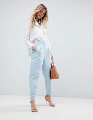 Asos Design Tailored Clean High Waist Linen Peg Pants