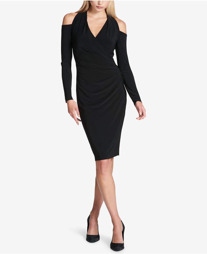 Dkny Ruched Faux-Wrap Cold-Shoulder Dress