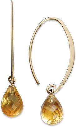 Macy's 14k Gold Earrings, Citrine Brio Hoops (6-1/2 ct. t.w.)