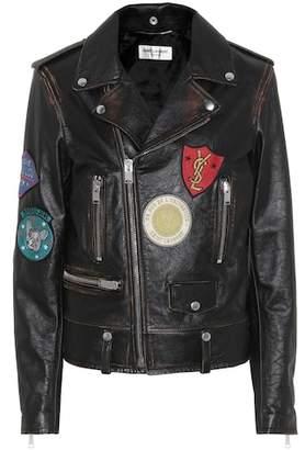 Saint Laurent Leather biker jacket with appliqués