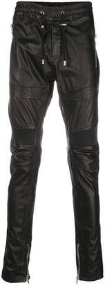 Balmain leather biker trousers