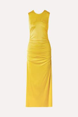 By Malene Birger Cutout Ruched Stretch-jersey Midi Dress - Yellow
