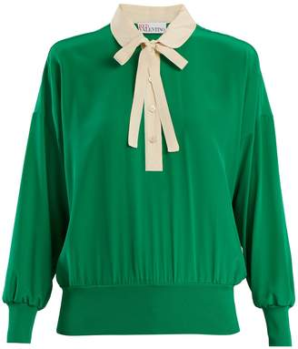 RED Valentino Peter Pan-collar tie-neck silk blouse