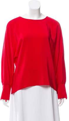 Amanda Uprichard Scoop Neck Long Sleeve Top