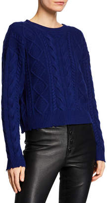 RtA Zane Cable-Knit Cropped Wool-Cashmere Sweater