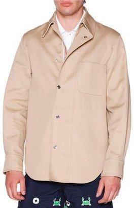 Thom Browne Macintosh Shirt Jacket with Grosgrain Placket, Khaki $890 thestylecure.com