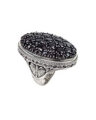 Konstantino Black Spinel Pave Oval Ring