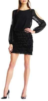 Aidan Mattox Cutout Fringe Mini Dress