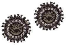 Marchesa Jet & Crystal Round Stud Earrings